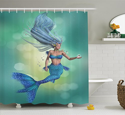 Wonderful Mermaid Shower Curtain Decor By Ambesonne, Mermaid Upper Body Of A Woman  And The Tail Of A Fish For Swimming Image, Polyester Fabric Bathroom Shower  Curtain ...