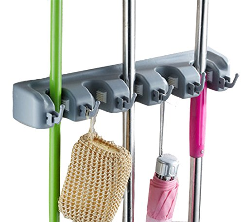 Cinlv Broom Mop Holder Wall Mounted 5 Position With 6 Hooks Wall Closet Mounted Organizer Tool Storage Utility Holder Home Storage Solutions Kitchen Tool for Closet Organizer