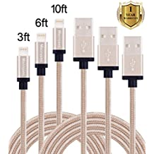 Mscrosmi 3 Pack 3FT 6FT 10FT Nylon Braided Lightning Cable USB Charging Cord with Aluminum Connector for iPhone 6/6s/6 plus/6s plus, 5c/5s/5, iPad Air/Mini/iPod (Gold)