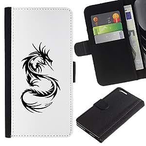 Decal Negro Blanco Monster Tattoo- la tarjeta de Crédito Slots PU Funda de cuero Monedero caso cubierta de piel Para Apple (5.5 inches!!!) iPhone 6+ Plus / 6S+ Plus