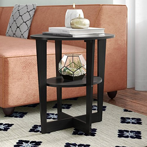 Round and Stylish End Table In Black Color Fits Your Space Fits Your Budget Made of Wood With Laminate