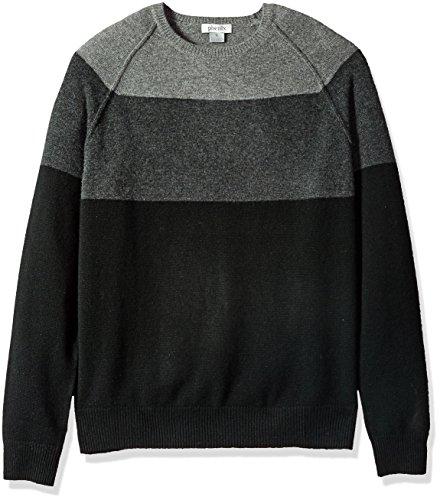 - Phenix Cashmere Men's 100% Cashmere Colorblock Raglan Crewneck Sweater, Black/Charcoal/Grey, XX-Large