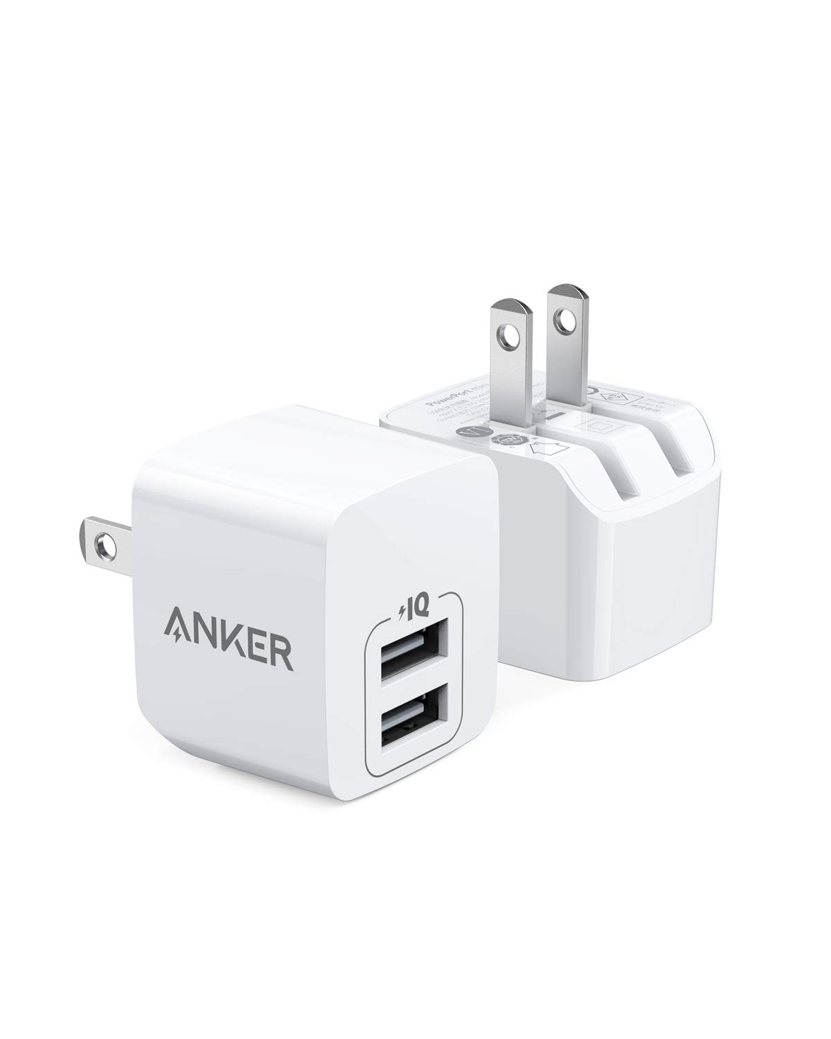 USB Charger, Anker 2-Pack Dual Port 12W Wall Charger with Foldable Plug, PowerPort Mini for iPhone Xs/XS Max/XR/X/8/8 Plus/7/6S/6S Plus, iPad, Samsung Galaxy Note 5/ Note 4, HTC, Moto, and More