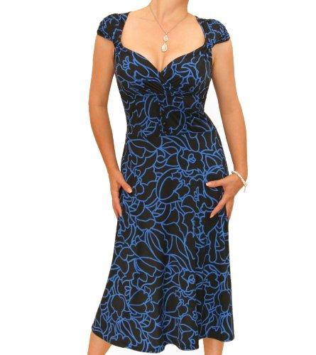 Banana Squiggle Women's Blue Blue Dress Neckline Print Sweetheart EOdqHcqpw