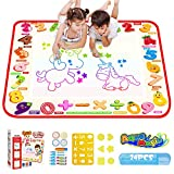 TECBOSS Water Drawing Mat Water Doodle Mat, Large Mess Free Aqua Magic Drawing Mat Aquadoodle Mat with 24Pcs Accessories, Toys for 2 Year Old Girls, 30.7X 30.7inch
