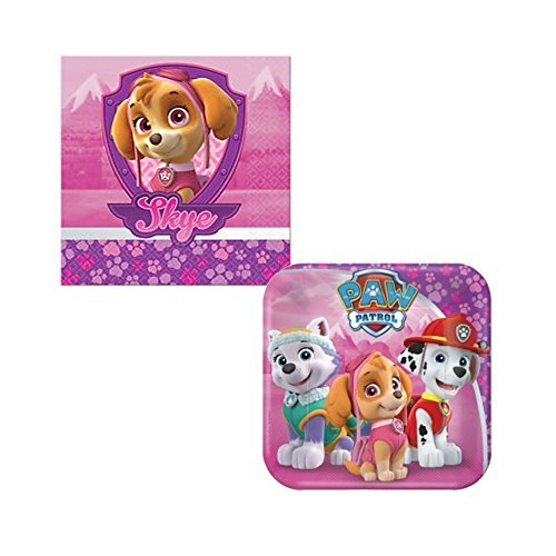 Amscan Paw Patrol Girl Birthday Complete Party Tableware Pack for 16, Dessert by Amscan