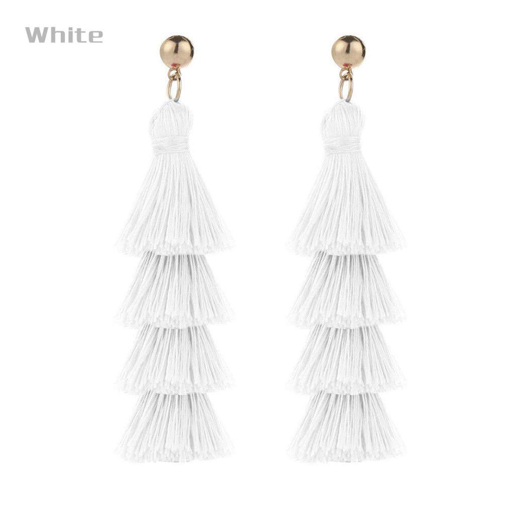 Tronet Bohemian Tassel Earrings for Women Colorful Long Layered Thread Dangle Earrings Jewellery Accessories Birthday Christmas Valentines Day Gift for Girls Ladies
