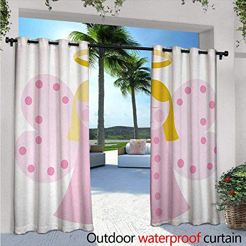 (Religious Outdoor- Free Standing Outdoor Privacy Curtain W96 x L96 Cute Girl Wings Fairytale Golden Hair Pray Peace Spiritual Illustration for Front Porch Covered Patio Gazebo Dock Beach Home Baby)