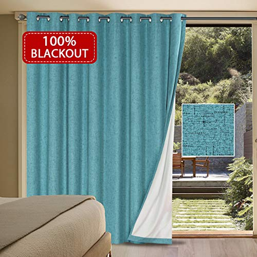 Extra Long and Wide 100% Blackout Curtains Rich Textured Linen Waterproof Patio Door Panel Anti Rust Grommet Home Fashion Window Panel Drapes for Bedroom/ Living Room - Teal- 100 x 84 Inch ()