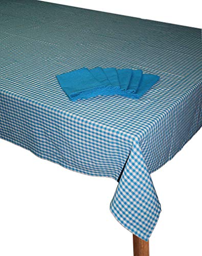 """Lushomes Turquoise Blue Cotton Checks Dining Table Covers with Table Napkins  6 Seater, 60"""" x 90"""""""
