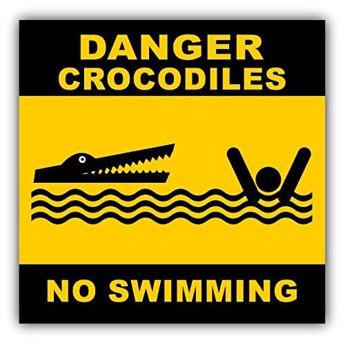 No Swimming Crocodiles Danger Sign Decor Autocollant De Voiture Vinyle 12 X 12 cm