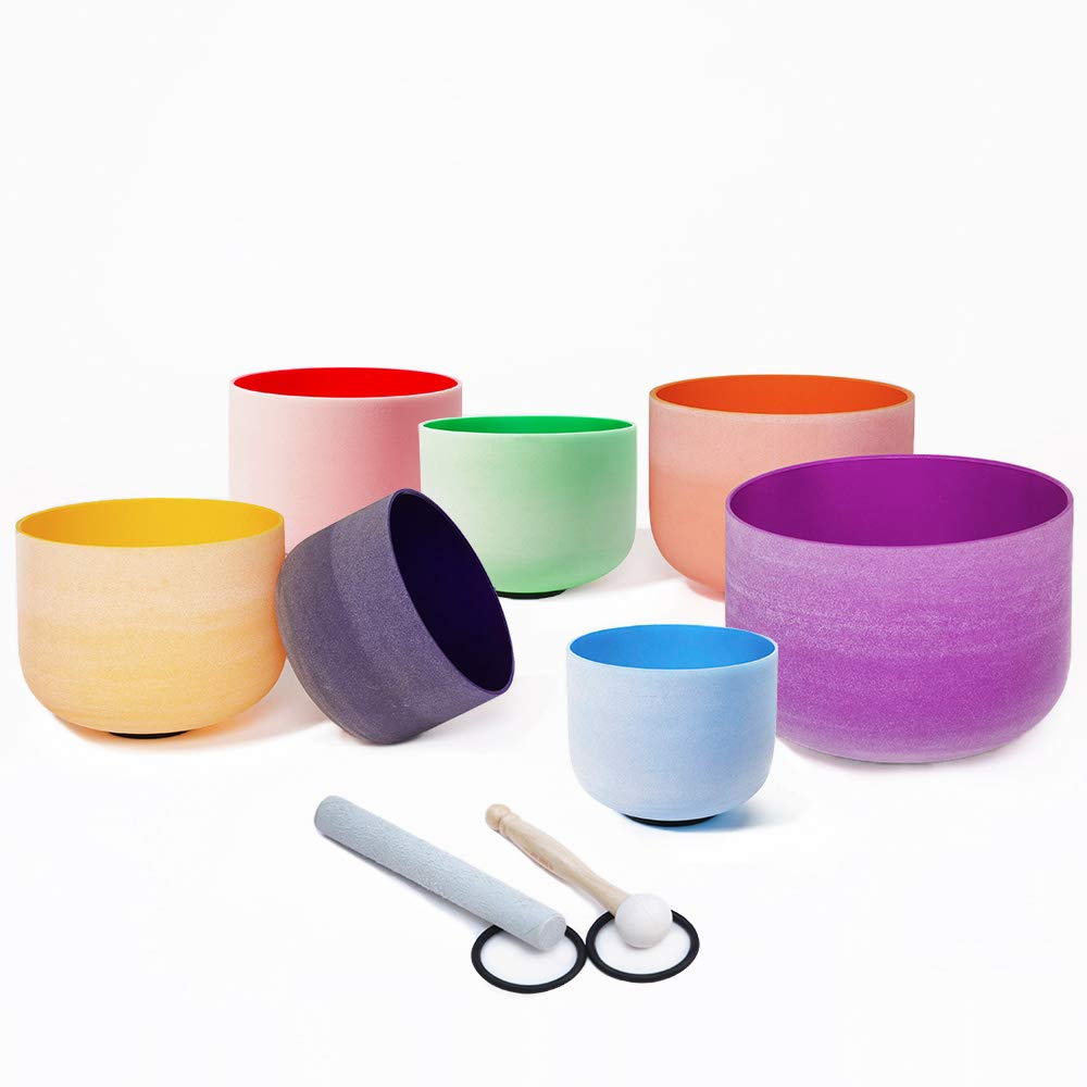 Chakra Tuned Set of 7 Pieces of Color Frosted Quartz Crystal Singing Bowls 6''-12'' + mallets & O-rings by Unknown (Image #3)