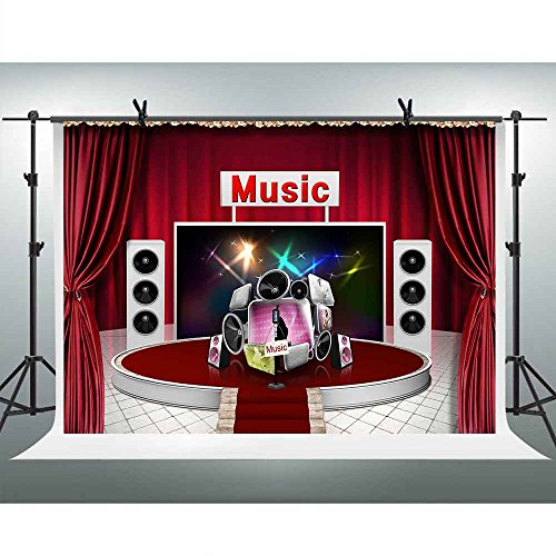 FHZON 10x7ft Music Stage Photography Backdrop Red Tent Sound Show Background Themed Party YouTube Backdrops Photo Booth Studio Props LXFH014]()