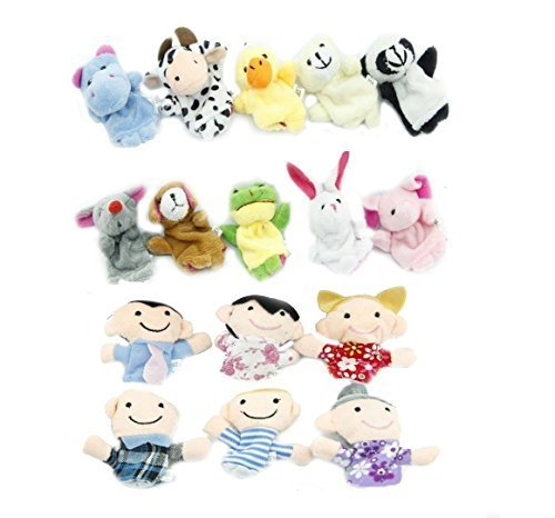 - COMING 16pcs Educational Puppets Story Time Finger Puppets-10 Animals and 6 People Family Members Included