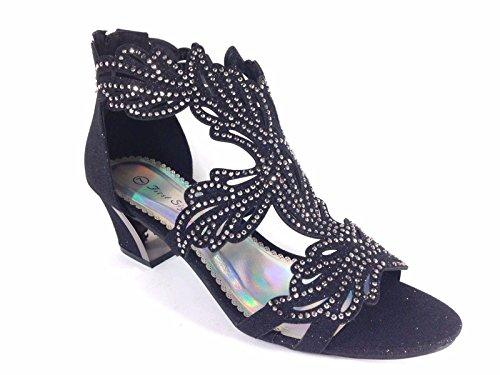 Lime03N Womens Open Toe Mid Heel Wedding Rhinestone Gladiator Sandal Wedge Shoes (8.5, Black)