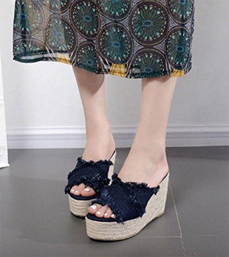 SCLOTHS Tongs Femme Chaussures L'été piscine fond épais talon haut la pente Bleu foncé 6 US 36 EU 3.5 UK  -