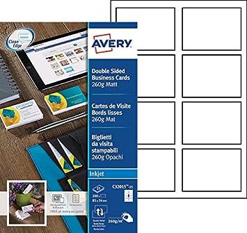 Avery 200 Cartes De Visite Bords Lisses 260g
