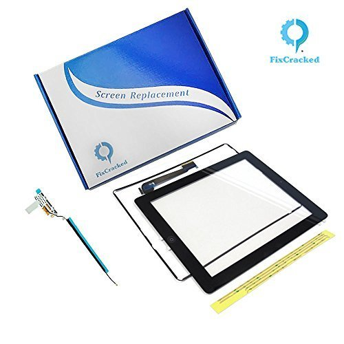 Ipad 4 Screen replacement,iPad 4 Front Touch Digitizer Assembly Replacement include Home Button +Camera Holder + Adhesive pre-installed+Middle Frame Bezel+WIFI Antenna Cable (Black)
