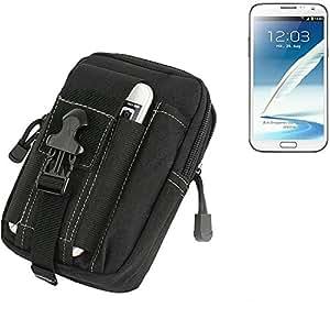 Bolsa del cinturón / funda para Samsung Galaxy Note 2 LTE, negro | compartimientos adicionales con el espacio para el banco de la energía, disco duro, etc. - K-S-Trade (TM)