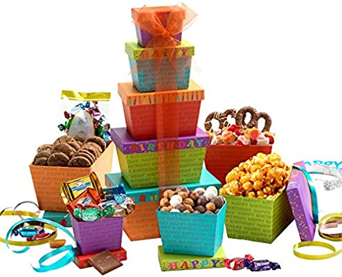 Amazon Broadway Basketeers Gift Tower Happy Birthday Celebration Grocery Gourmet Food