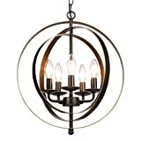 Cheap CO-Z Antique Bronze 5-Light Metal Industrial Globe Chandelier, Rustic Sphere Pendant Chandelier Lighting, Orb Hanging Ceiling Light Fixture for Dining Room Foyer Bedroom Kitchen Enterway Farmhouse