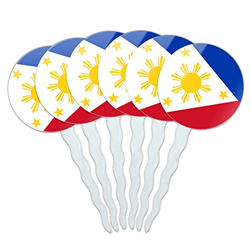 Philippines Pick (Set of 6 Cupcake Picks Toppers Decoration Country National Flag O-S - Philippines National Country Flag)