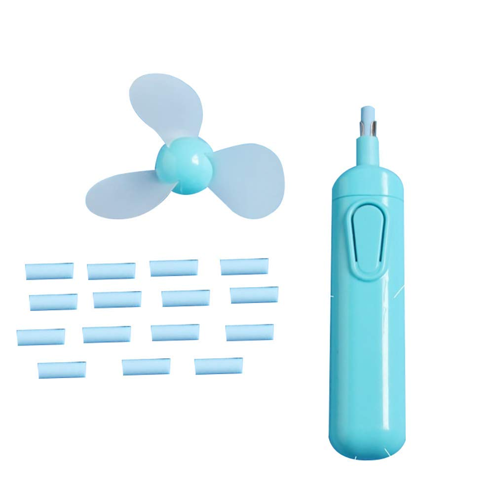 Fan | 2in1 Electric Automatic Rotate Eraser Cooling Fan Kit with 15Pcs Eraser Refill Blue| Summer Things Durable and Useful