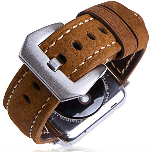 Organic Series (SwizzClub Compatible Apple Watch Band Leather 42mm 44mm - Iwatch Band 44mm 42mm Series 4/3/2 - for Apple Watch Band Strap - Iwatch Strap - Apple Watch Band Brown Leather - Iwatch Bands for Women Men)