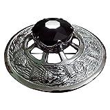 AAR Men Scottish Thistle Fly Plaid Brooch Black Stone Chrome Finish 3'' (7cm) diam