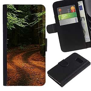 iBinBang / Flip Funda de Cuero Case Cover - Naturaleza Forrest Trail - Samsung Galaxy S6 SM-G920