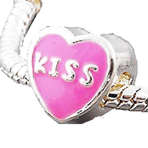 Charm Buddy Pink Kiss Heart Charms Bead Fits Silver Pandora Style Bracelets - Heart Kiss Italian Charm