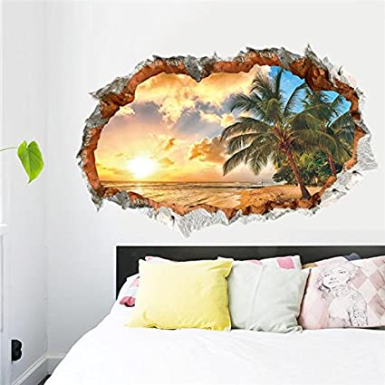 Amazoncom Fairyteller Sunset Sea Beach Wall Decals Decorative