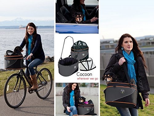 DoggyRide Cocoon Pet Carrier, Airline Carrier, car seat and Ready for use as Bicycle Basket, Large, Anthracite/Orange by DoggyRide (Image #3)