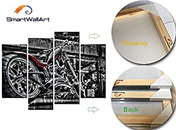 SmartWallArt – Vehicle Paintings Wall Art Black and Bright Motorcycle 4 Panel Picture Print on Canvas for Modern Home Decoration