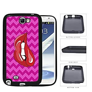 Red Lips Biting With Pink Chevron Pattern Rubber Silicone TPU Cell Phone Case Samsung Galaxy Note 2 II N7100