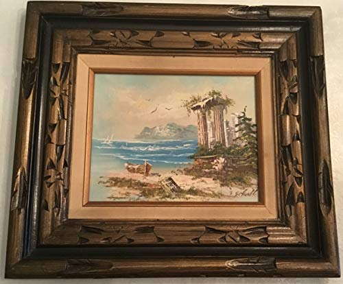 Lovely Retro Oil Painting of Ancient Ruins on Shoreline in Wood Frame Signed by Artist