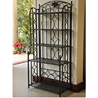 International Caravan 74364-OG-165270-O-852774 5-Tier Iron Indoor/Outdoor Bakers Rack, Matte Brown