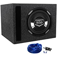 "Package: Boss Audio Armor AR10D 10 Inch 2200 Watt Dual 4 Ohm Car Subwoofer With Chrome Cone + Rockville RSV10 Single 10"" Vented Subwoofer Enclosure + Single Enclosure Wire Kit With 14 Gauge Speaker Wire + Screws + Spade Terminals"