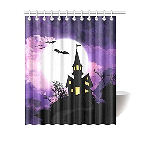 Halloween Background Waterproof Polyester Fabric Bathroom Shower Curtain  With 12 Hooks 60u0026quot;(w)