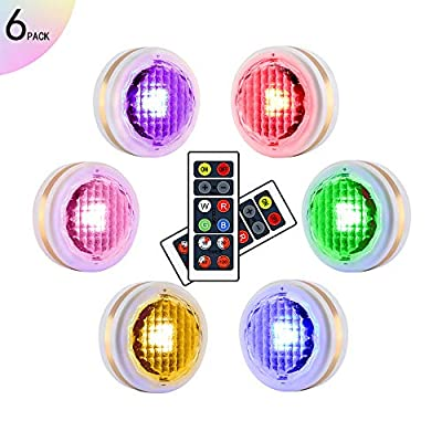 LEASTYLE Wireless LED Puck Lights with Remote Control,Under Cabinet Lighting,Battery Operated Closet Light, Multicolor Lights for Bedroom,Bathroom,Kitchen