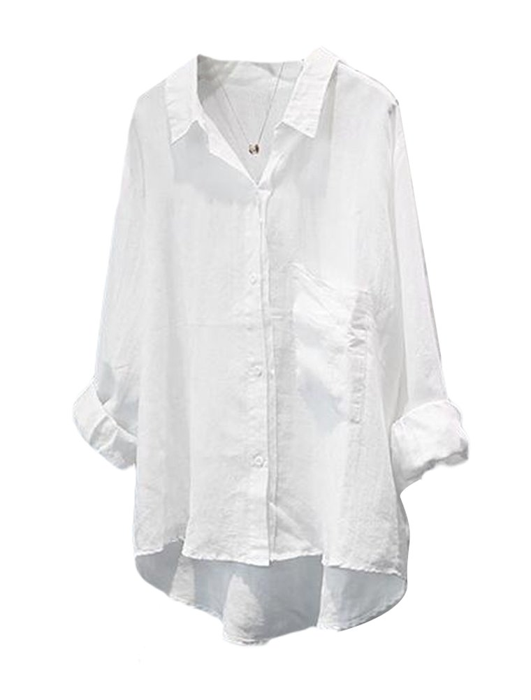 Minibee Women's Casual Cotton Linen Blouse High Low Shirt Long Sleeve Tops M-White