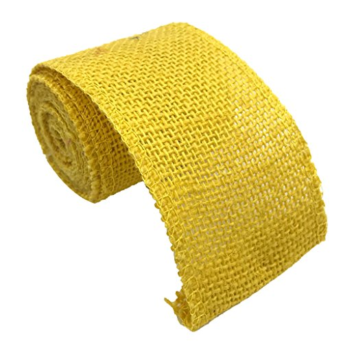 Flameer Natural Jute Burlap Ribbon Roll Embellishments Trims Tape for Wrapping Gifts - Yellow