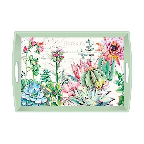 Decoupage Serving Tray - Michel Design Works Large Decoupage Wooden Tray, Pink Cactus