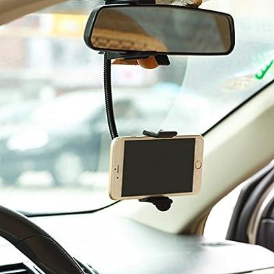 Premium Rear View Mirror Car Mount Holder Cradle Dock for iPhone SE, 6 6S, 6 and 6S Plus, 5S 5C 5 5G 4S (All carriers including AT&T, T-Mobile, Sprint, Verizon, Straight Talk, Unlocked)