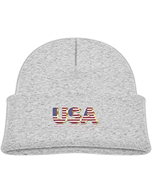 Warm USA Flag Printed Infant Baby Winter Hat Beanie