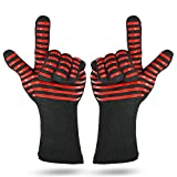 Oven long sleeve high temperature resistant 500 degree anti-scalding microwave oven gloves BBQ aramid + cotton + non-slip silicone barbecue baking gloves one pair (Red)