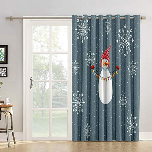 - Futuregrace Room Darkening Curtain 45 inches Length Window Treatment Blackout Drape for Bedroom, Grommet Top Snowman Celebrates Christmas for You Xmas Chic Modern Art Print Backout Curtains Panel