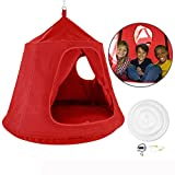 OrangeA Hanging Tree Tent kids hanging tent Red Original Hanging Backyard Tree House 45 diam. x 54 H hammock tent outdoor tents with LED Lights for babies