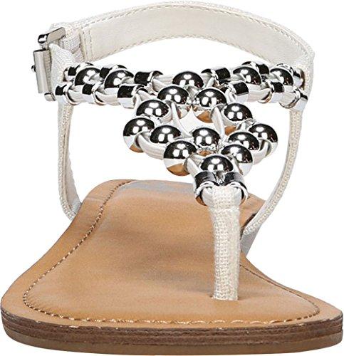Fabric White Fergalicious Casual Elastic Flat Tito Slingback Gore Womens Toe Sandals Split wwr8yEqa