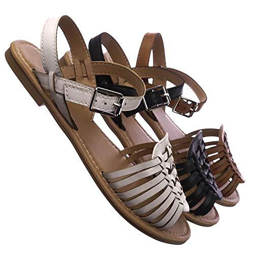 Woven Fisherman Huarache Flat Sandal, Women Open Toe Shoes White